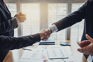 two business owners shaking hands after a successful software contract negotiation