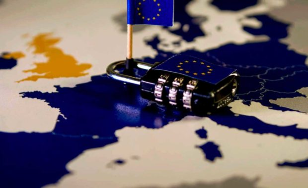 gdpr map with a lock and mini flag
