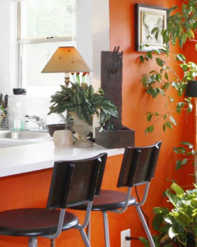 modern office with orange walls