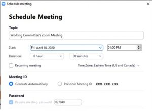 Add a password to the zoom meeting