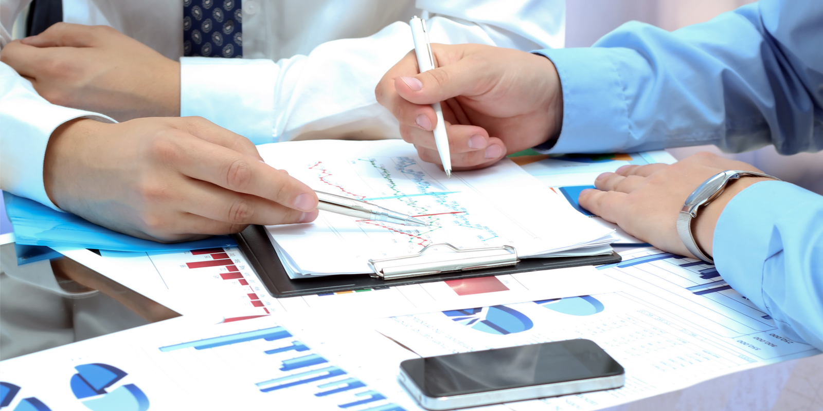 Business strategy consultant with client