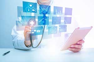 Doctor integrating telehealth software