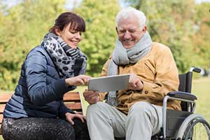 Senior care provider using telehealth services