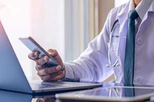 Telehealth services being used by a healthcare provider