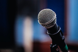 a professional microphone being used as part of a virtual event technology strategy