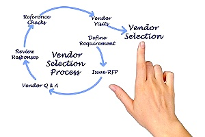 hand pointing to vendor selection