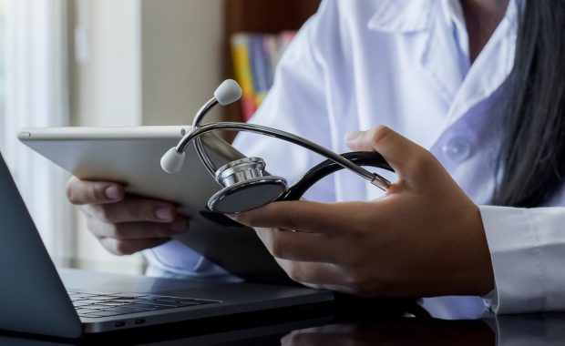 A doctor providing Telehealth consulting service