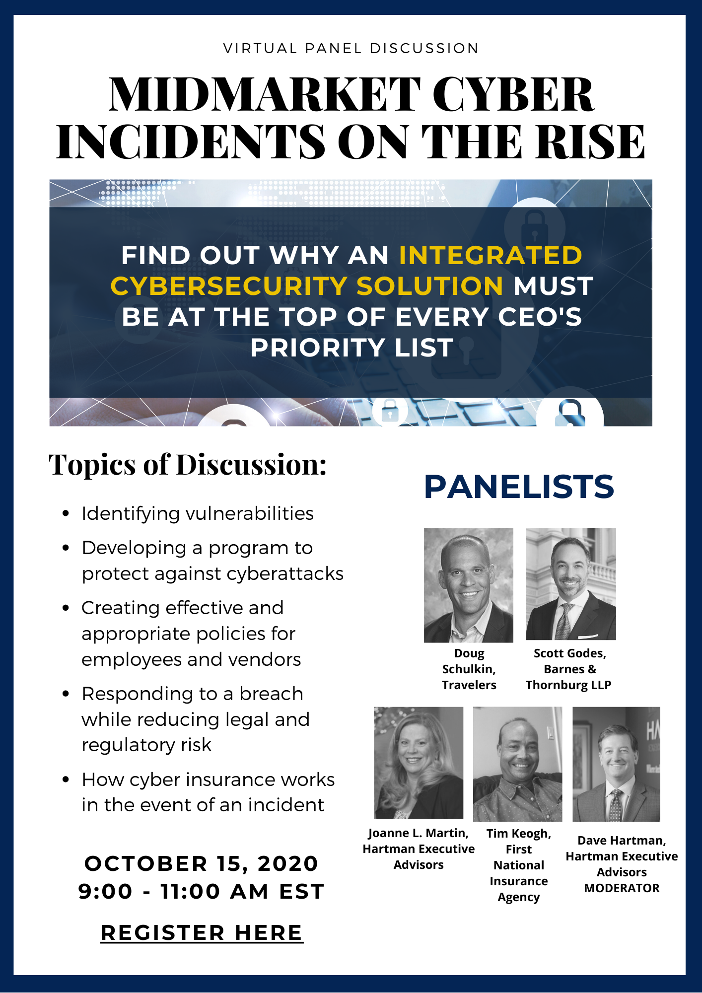 Hartman virtual panel event flyer