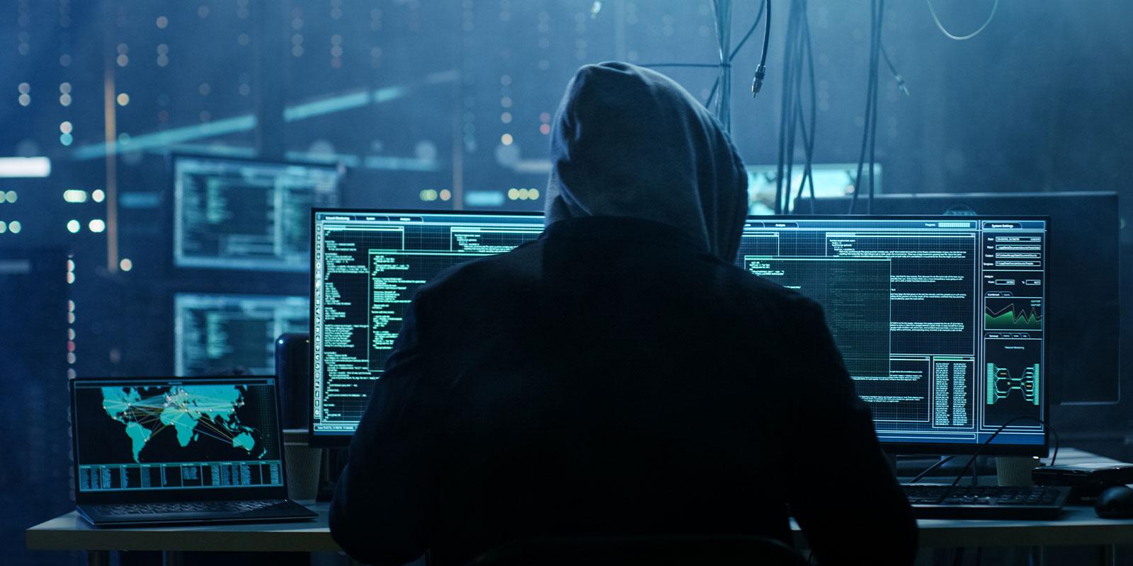 cyber hacker on a computer