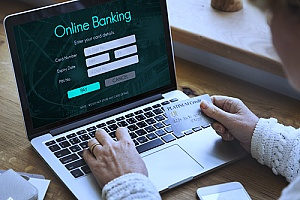 an individual using an online banking service as a result of innovation