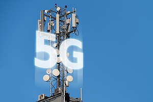 5G network transmitters on the roof. Speculation surrounding 5G networks open up new cybersecurity risks