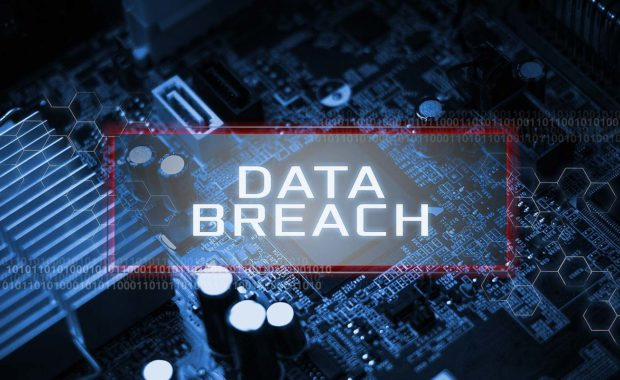 Virtual screen showing data breach. The after-effects of financial data breach can be significant