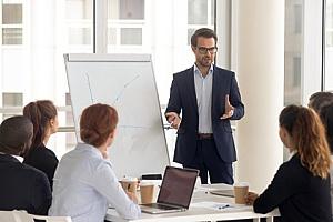 business partners meeting with an interim executive