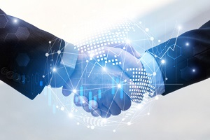 business man handshake with effect global world map network