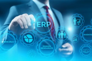 businessman with erp concept
