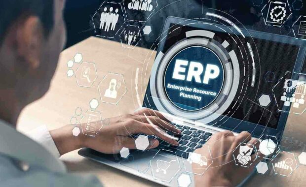 erp software system for business resources plan presented in modern graphic interface