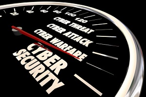 cyber security threat attack warfare level gauge 3d illustration